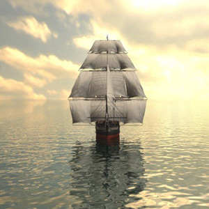 Image of sailing ship with very wide sails