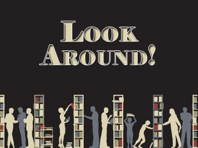 graphic depicting people looking for material in library